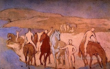 Chevaux au bain 1906 Cubism Oil Paintings