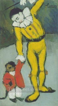 Clown au singe 1901 Cubism Oil Paintings