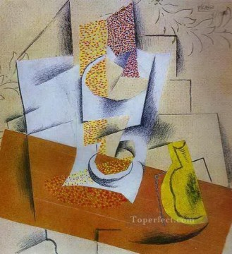 cubism works - Composition Bowl of Fruit and Sliced Pear 1913 Cubism