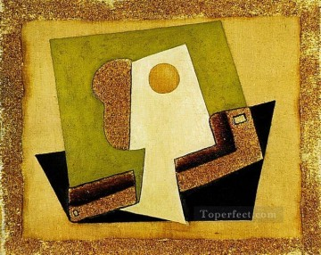1917 Canvas - Composition au verre Verre et pipe 1917 Cubism
