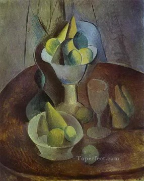 Compotier Fruit and Glass 1909 Cubism Oil Paintings