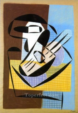 Compotier et guitare 1927 Cubism Oil Paintings