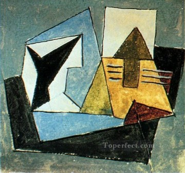 Compotier et guitare sur une table 1920 Cubism Oil Paintings