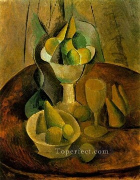 Compotiers fruits et verre 1908 Cubism Oil Paintings