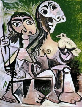 Couple a l oiseau 2 1970 Cubism Oil Paintings