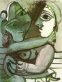 Couple assis 1971 Cubism