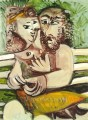 Couple assis sur un banc 1971 Cubism