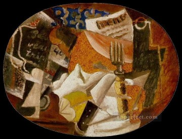 Couteau fourchette menu bouteille jambon 1914 Cubism Oil Paintings