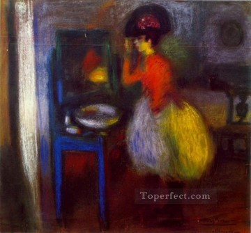 Dans la piece La loge 1900 Cubism Oil Paintings