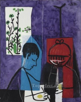 Cubism Oil Painting - Enfants dessinant 1954 Cubism