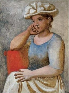 Femme accoudee au chapeau blanc 1921 Cubism Oil Paintings