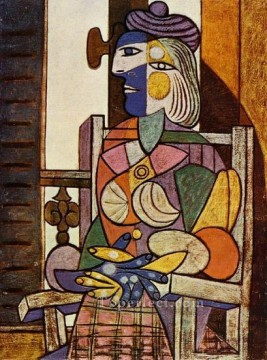 Femme assise devant la fenetre Marie Therese 1937 Cubism Oil Paintings