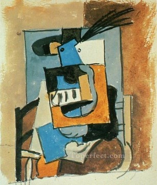 Femme au chapeau a plume 1919 Cubism Oil Paintings