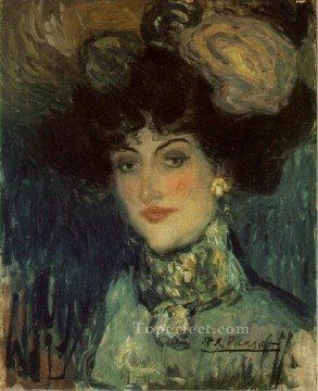 Femme au chapeau a plumes 1901 Cubism Oil Paintings