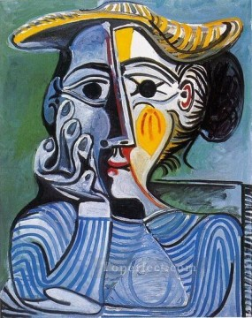 Femme au chapeau jaune Jacqueline 1961 Cubism Oil Paintings