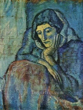 Femme en bleu 1901 Cubism Oil Paintings