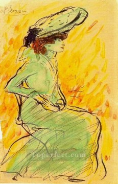 Femme en robe verte assise 1901 Cubism Oil Paintings