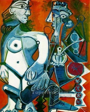 Femme nue debout et Homme a la pipe 1968 Cubism Oil Paintings