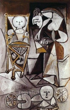 Femme qui dessine entouree de ses enfants 1950 Cubism Oil Paintings