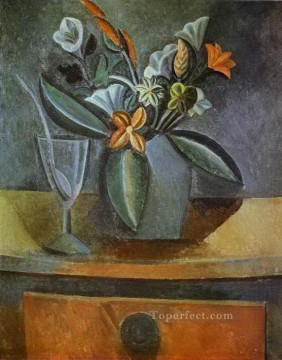 Wine Painting - Flowers in a Grey Jug and Wine Glass with Spoon 1908 Cubism