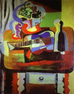 Cubism Oil Painting - Guitar Bottle Bowl with Fruit and Glass on Table 1919 Cubism