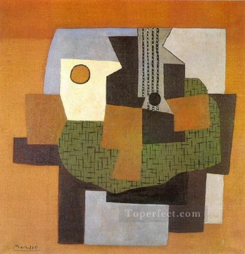 Guitare compotier et tableau sur une table 1921 Cubism Oil Paintings