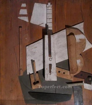 Guitare et bouteille de Bass 1913 Cubism Oil Paintings