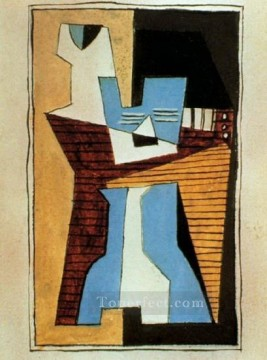 Guitare et compotier sur une table 1920 Cubism Oil Paintings