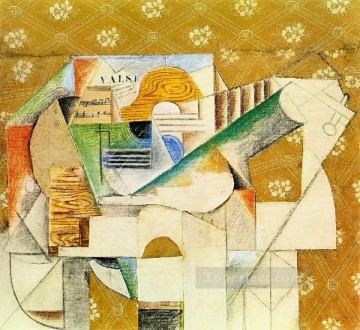 Guitare et feuille de musique 1912 Cubism Oil Paintings