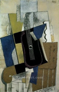Guitare et journal 1915 Cubism Oil Paintings