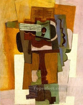 Guitare sur un gueridon 1922 Cubism Oil Paintings