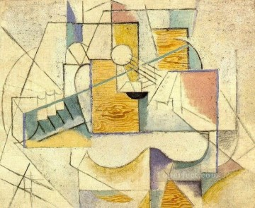 Guitare sur une table II 1912 Cubism Oil Paintings