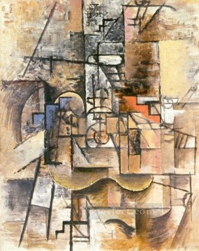 Guitare verre et pipe 1912 Cubism Oil Paintings