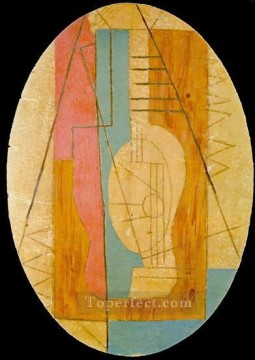 rose roses Painting - Guitare verte et rose 1912 Cubism