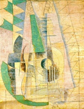 Guitare verte qui etend 1912 Cubism Oil Paintings