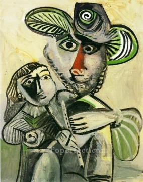 Homme a la flute et enfant Paternit 1971 Cubism Oil Paintings
