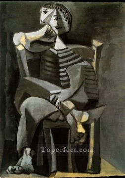 Homme assis au tricot raye 1939 Cubism Oil Paintings