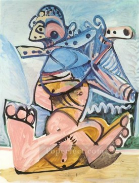 Homme assis jouant de la flute 1971 Cubism Oil Paintings