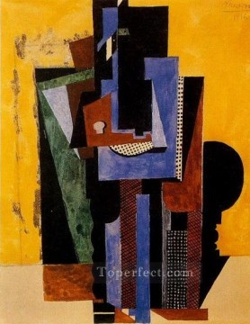 Cubism Oil Painting - Homme aux mains croisees accoude a une table 1916 Cubism