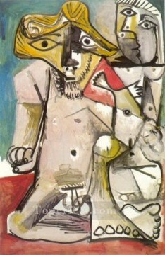 Homme et femme nus 1971 Cubism Oil Paintings