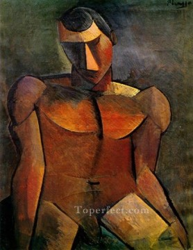 Homme nu assis 1908 Cubism Oil Paintings