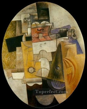 Instruments de musique 1912 Cubism Oil Paintings