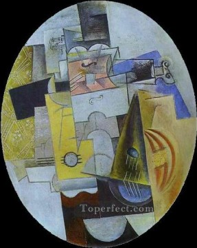 Instruments de musique 1913 Cubism Oil Paintings