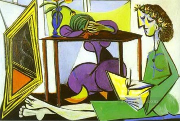 Interior with a Girl Drawing 1935 Cubism Oil Paintings