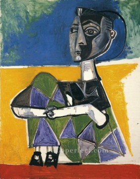 Jacqueline assise 1954 Cubism Oil Paintings