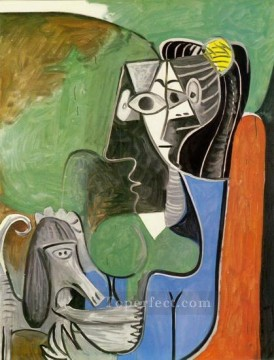 Jacqueline assise avec Kaboul 1962 Cubism Oil Paintings