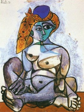 Jacqueline nue au bonnet turc 1955 Cubism Oil Paintings