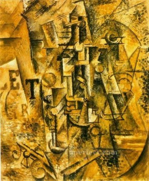La bouteille de rhum 1911 Cubism Oil Paintings