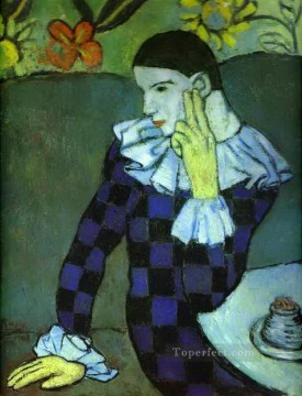 Leaning Harlequin 1901 Cubism Oil Paintings