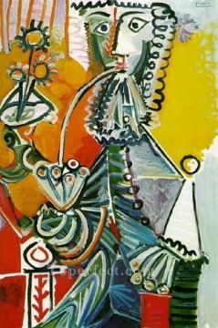 Mousquetaire a la pipe et fleurs 1968 Cubism Oil Paintings